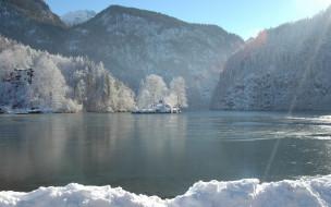 природа, реки, озера, деревья, снег