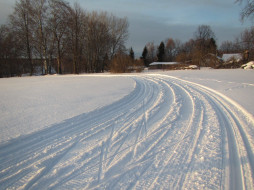 природа, дороги, деревья, снег
