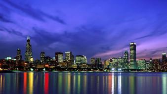 города, Чикаго , сша, вечер, отражение, вода