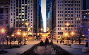 города, Чикаго , сша, вечер, улица, фонари