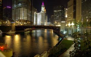 города, Чикаго , сша, фонари, вечер, мост, река