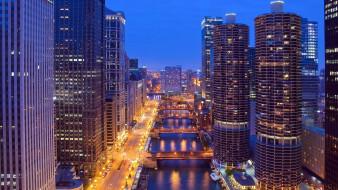 города, Чикаго , сша, вечер, мосты, река