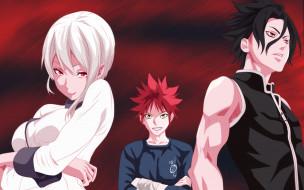 аниме, shokugeki no soma, фон, взгляд, девушка, парни