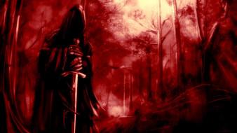фэнтези, нежить, меч, балахон, лес