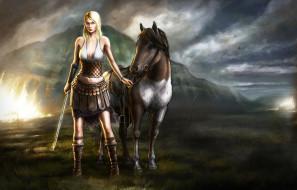 фэнтези, девушки, лошадь, девушка, меч, воительница, тучи