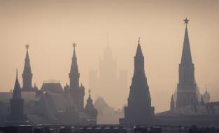 города, москва , россия, башни, кремль, силуэты, туман, утро