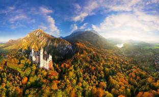 города, замок нойшванштайн , германия, горы, замок, облака, лес, осень, деревья