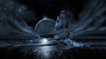 луна, ночь, море, Корабль