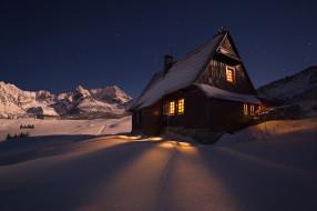 города, - здания,  дома, снег, дом, ночь, горы