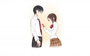 аниме, shokugeki no soma, парень, фон, взгляд, девушка