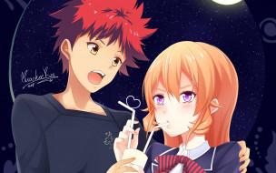 аниме, shokugeki no soma, взгляд, девушка, парень, фон