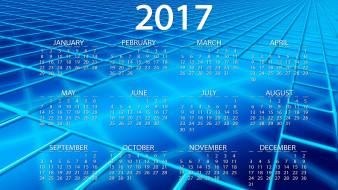 календари, рисованные,  векторная графика, фон, 2017, год, синий, вектор, дата, клетки, календарь, голубой