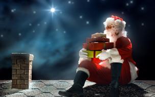 праздничные, дед мороз,  санта клаус, подарки, санта, труба, крыша