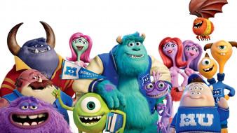 monsters university, мультфильмы, персонажи