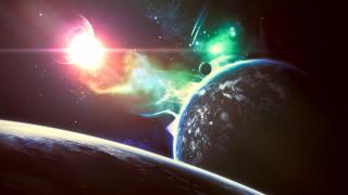 космос, арт, сияние, звезды, планета