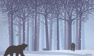 векторная графика, животные , animals, медведи, лес