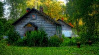 города, - здания,  дома, деревья, дом, старый