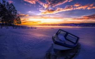 снег, зима, лодка