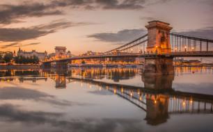 города, - мосты, цепной, мост, опора, огни, вечер, венгрия, небо, будапешт, дунай, река, облака