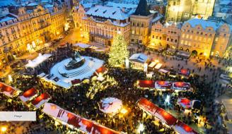 города, прага , Чехия, дома, здания, огни, площадь, праздник, толпа, люди