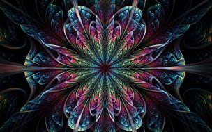 3д графика, фракталы , fractal, цветок, симметрия