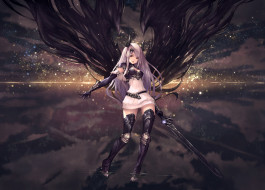 аниме, shingeki no bahamut, закат, облака, tachikawa, mushimaro, рога, небо, девушка, меч, вода, демон, арт, крылья, shingeki, no, bahamut, bimo, оружие
