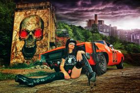 автомобили, -авто с девушками, автомат, череп, граффити