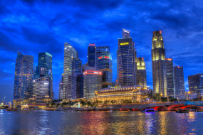 singapore, night, города, сингапур , сингапур, ночь, побережье