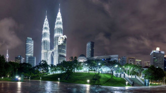 города, куала-лумпур , малайзия, тучи, здания, башни, дома, огни