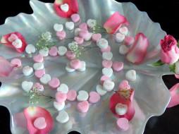 праздничные, день святого валентина,  сердечки,  любовь, роза, лепестки, сердечки