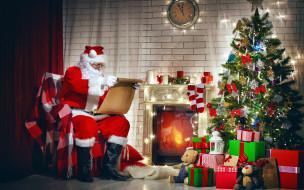 праздничные, дед мороз,  санта клаус, елка, подарки, санта, камин