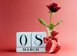 праздничные, международный женский день - 8 марта, роза, бант, надпись