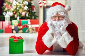 праздничные, дед мороз,  санта клаус, подарок, бант, санта