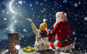 праздничные, дед мороз,  санта клаус, снег, луна, подарок, девочка, санта