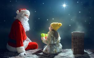 праздничные, дед мороз,  санта клаус, подарок, девочка, звезды, санта