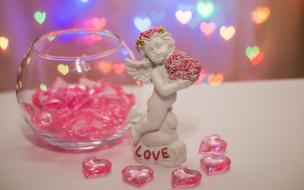 праздничные, день святого валентина,  сердечки,  любовь, сердечки, надпись, ангел