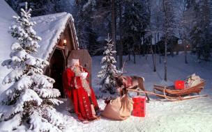 праздничные, дед мороз,  санта клаус, снег, санта, мешок, сани, олень