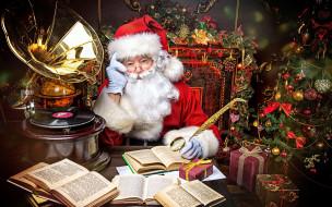 праздничные, дед мороз,  санта клаус, грамофон, елка, санта, книги