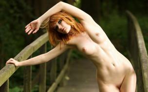 эротика, рыжеволосые, девушка, взгляд, фон, грудь