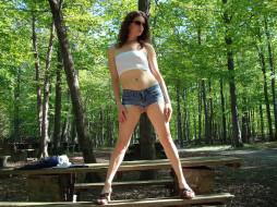 девушки, -unsort , брюнетки,  шатенки, лес, деревья