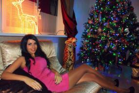 девушки, -unsort , брюнетки,  шатенки, елка, новый, год, красотка