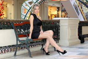 девушки, -unsort , блондинки, туфли, скамья