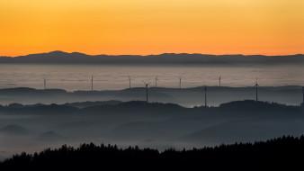 разное, мельницы, ветряки, утро, туман