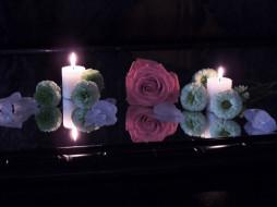 разное, свечи, роза, огоньки