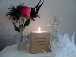 разное, свечи, роза, свеча, надпись, перья