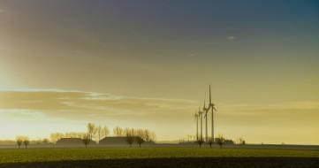 разное, мельницы, вечер, ветряки