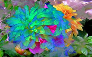 разное, компьютерный дизайн, цветы, лепестки