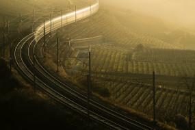 разное, транспортные средства и магистрали, вечер, железная, дорога