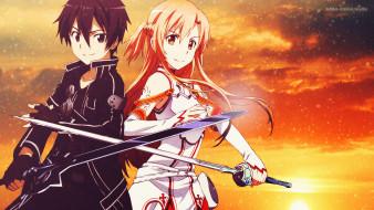 аниме, sword art online, девушка, взгляд, фон, парень