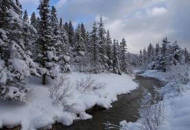 природа, реки, озера, река, зима, канада, banff, national, park, alberta